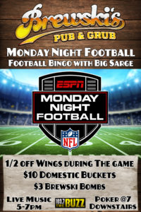 Monday Night Football with Big Sarge @ Brewski's Pub & Grub