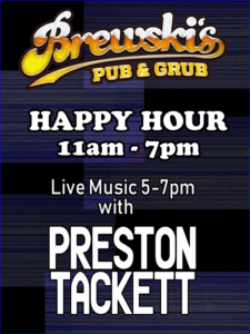 LIVE MUSIC Preston Tackett @ Brewski's Pub & Grub