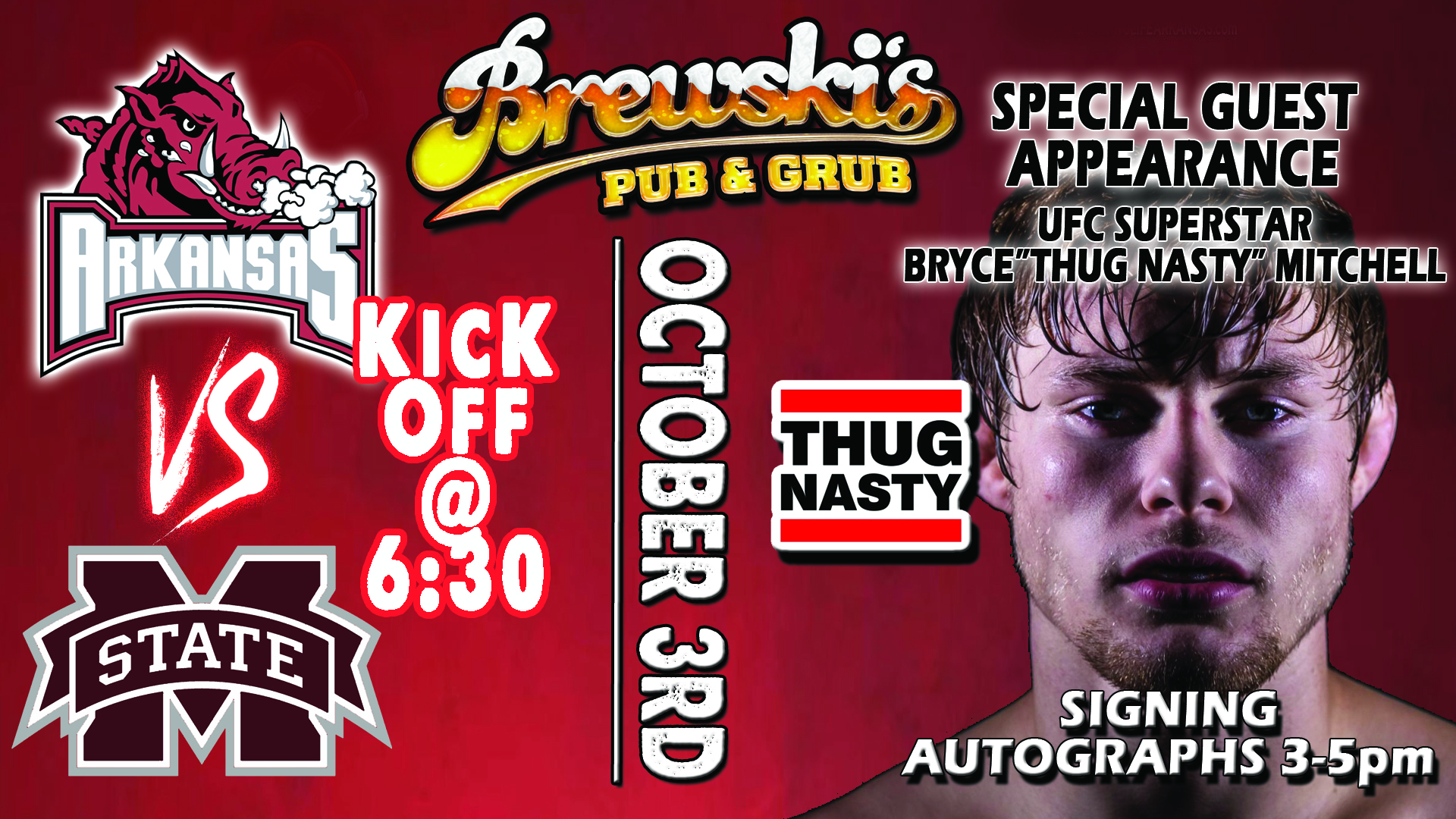 RAZORBACK FOOTBALL & THUG NASTY @ Brewski's Pub & Grub